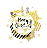 Christmas card with Stylish gold Christmas Royalty Free Stock Photography
