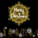 Christmas card with Stylish gold Merry Christmas Stock Photo