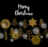 Christmas card with Stylish gold Merry Christmas Stock Photos