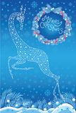 Christmas card with stylized deer Stock Photo