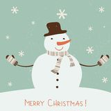 Christmas card with stylized snowman. Royalty Free Stock Photos