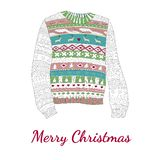 Christmas card, with a sweater,. Lettering Merry Christmas Stock Photos