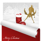 Christmas card with sweet deer looking at santas boot in the snowy forest background. Stock Photography