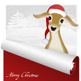 Christmas card with sweet deer in the snowy forest background. Royalty Free Stock Photography