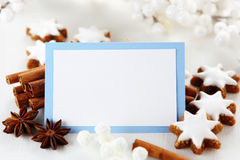 Christmas card. With sweets and decorations Stock Images
