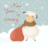 Christmas card with a symbol of the new year. Year of Sheep. Lamb pulls the bag with gifts. Illustration of a cute cartoon sheep. 2015. Eps 10 Vector Illustration