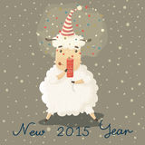 Christmas card with a symbol of the new year. Year of the sheep Stock Image