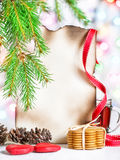 Christmas card with tea and cookies Stock Photography