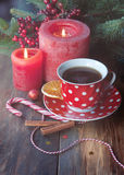 Christmas card with tea Royalty Free Stock Photography