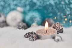Christmas card with tea light and decoration Stock Photo