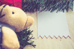 Christmas card with teddy bear. Merry Christmas and a happy New year Stock Photography