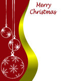 Christmas Card Template. An abstract Christmas card vector illustration with clear white outline baubles on a darker backdrop with room for text on white space Royalty Free Stock Photos