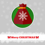 Christmas card template with bag. In the circle Stock Photography