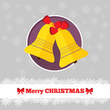 Christmas card template with bells. In the circle Stock Photography