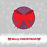 Christmas card template with bow. In the circle Stock Photography
