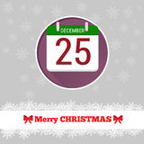 Christmas card template with calendar. In the circle Stock Image
