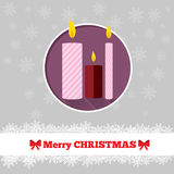 Christmas card template with candles. In the circle Royalty Free Stock Image