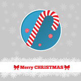 Christmas card template with candy cane. In the circle Stock Images