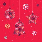 Christmas card template with christmas decorations Royalty Free Stock Images