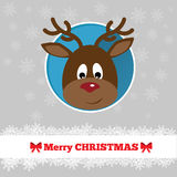 Christmas card template with deer. Face in the circle Royalty Free Stock Photography