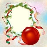 Christmas card template. Fir branch frame and Christmas ball Stock Photos