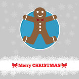 Christmas card template with ginger bread man. In the circle Stock Images