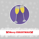 Christmas card template with glasses. On champagne in the circle Stock Images