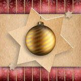 Christmas card template - gold bauble Stock Images