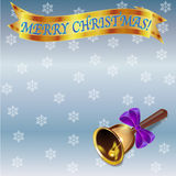 Christmas card template with golden banner, christmas bell and snowflakes Royalty Free Stock Images
