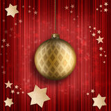 Christmas card template - golden bauble and stars Stock Images