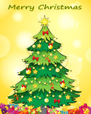 A christmas card template with a green christmas tree royalty free stock photos