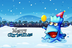 A christmas card template with a happy blue monster Royalty Free Stock Photo