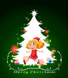 A christmas card template with a happy young girl Royalty Free Stock Photo
