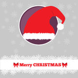Christmas card template with hat. In the circle Royalty Free Stock Photos