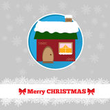Christmas card template with house. In the circle Stock Photography