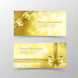 003 Christmas card template for invitation and gift voucher with. Christmas card template for invitation and gift voucher with gold ribbon and lighting effect Royalty Free Stock Photography