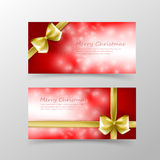 007 Christmas card template for invitation and gift voucher with. Christmas card template for invitation and gift voucher with gold ribbon and lighting effect Royalty Free Stock Photography