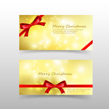 004 Christmas card template for invitation and gift voucher with. Christmas card template for invitation and gift voucher with red ribbon snowflaw and lighting Stock Image