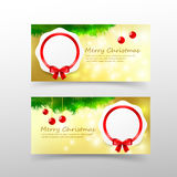 006 Christmas card template for invitation and gift voucher with. Christmas card template for invitation and gift voucher with red ribbon snowflaw and lighting Royalty Free Stock Photo