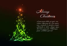 Christmas card template with light christmas tree Royalty Free Stock Images