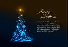 Christmas card template with light christmas tree Stock Image