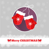 Christmas card template with mittens. In the circle Royalty Free Stock Photo