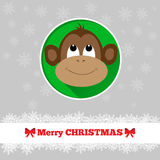 Christmas card template with monkey. Face in the circle Stock Photo
