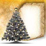 Christmas card template - paper sheet and christmas tree Royalty Free Stock Photography