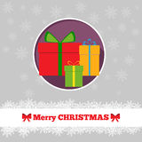 Christmas card template with presents. In the circle Stock Photos