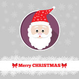 Christmas card template with santa. In the circle Stock Photos