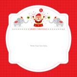Christmas card template with Santa Claus Stock Photos