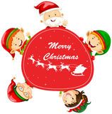 Christmas card template with Santa and elves Stock Photography