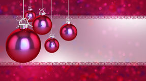 Christmas card template. Simple, classic and modern baubles on a flickering background Royalty Free Stock Photo