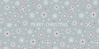 Christmas card template with snowflake hearts royalty free stock images